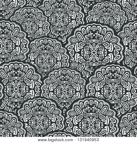 Seamless pattern of mandalas. Ornament of round decorative elements. Ethnic background in vector.