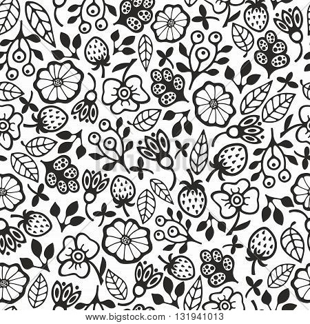 Black and white seamless pattern with flowers. Vector background for creative coloring.
