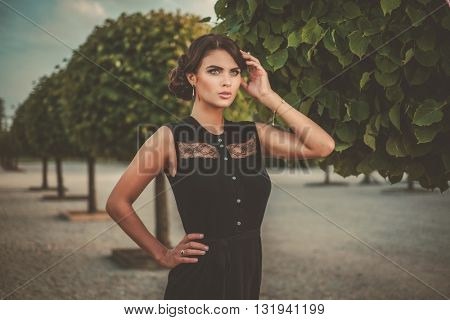 Young lady in a beautiful alley