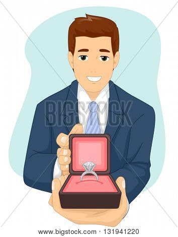 Illustration of a Man Presenting an Engagement Ring