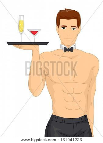 Illustration of a Muscular Waiter Serving Drinks at a Bachelorette Party
