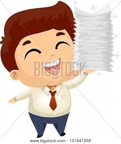 Illustration of a Male Employee Carrying a Stack of Documents