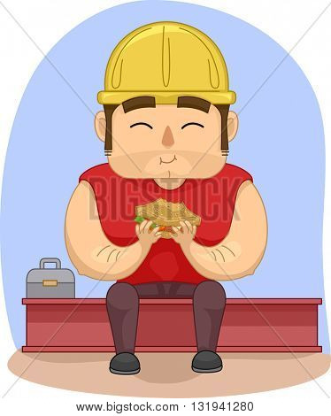 Illustration of a Construction Worker Eating His Lunch