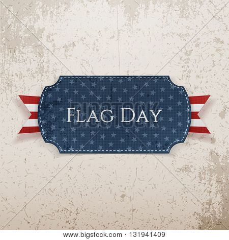 Flag Day Label with Ribbon and Shadow. Vector Illustration