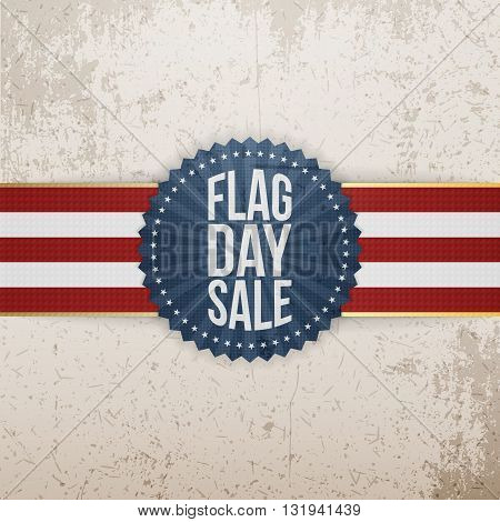 Flag Day Sale Badge with Ribbon and Shadow. Vector Illustration