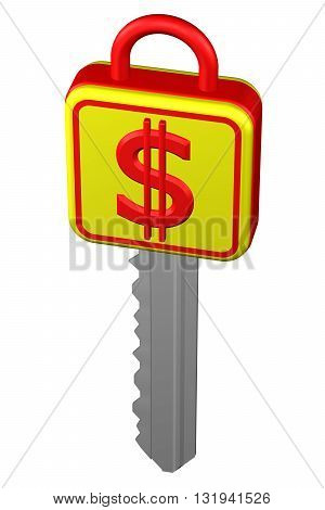 Key with sign dollar isolated on white background. 3D rendering.
