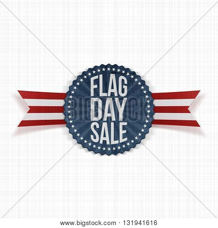Flag Day Sale Emblem with Text and Shadow. Vector Illustration
