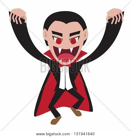 Dracula with cape in flat style vector cartoon