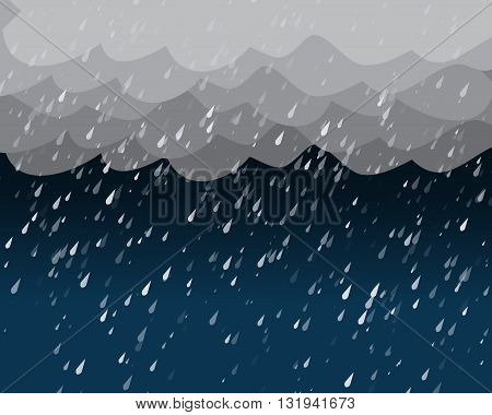 Heavy rain in dark sky vector background