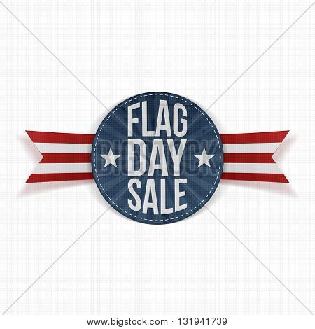 Flag Day Sale Label with Text and Shadow. Vector Illustration