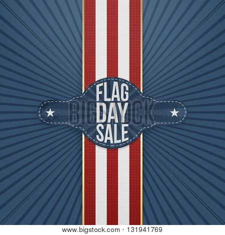 Flag Day Sale Tag with Ribbon and Shadow. Vector Illustration