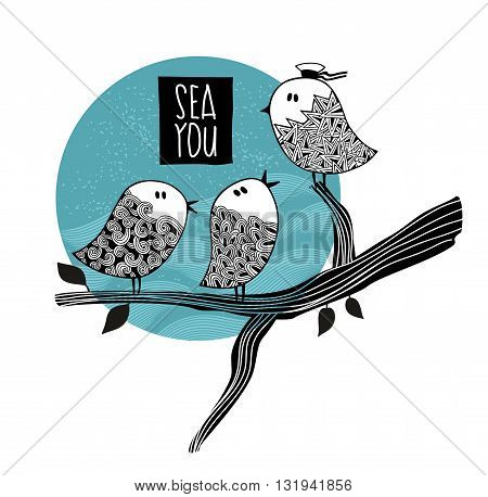 Cute birds on the tree speaking about the sea trip. Vector illustration.