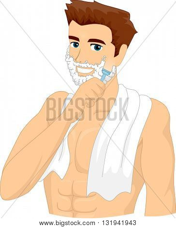 Illustration of a Man Applying Shaving Cream on His Face
