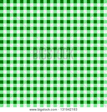Gingham Classic Style Green and White Seamless Pattern With Speckled Effect
