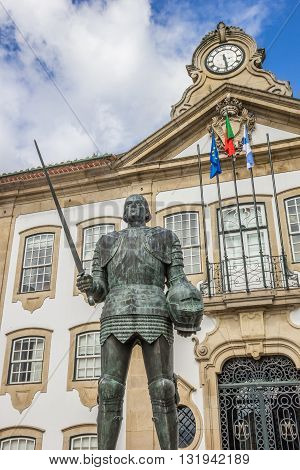 Statue in front of the town hall in Chaves Portugal