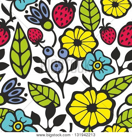 Bright seamless pattern with flowers and plants. Vector background.
