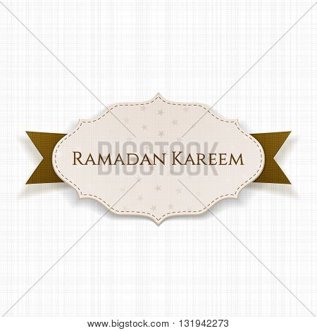 Ramadan Kareem Label with Text and Ribbon. Vector Illustration