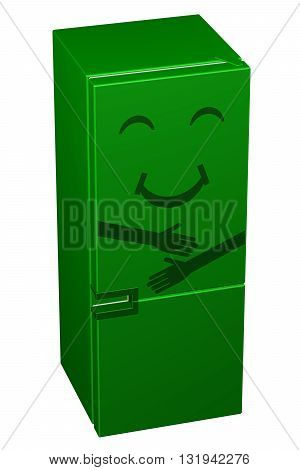 Green smiling refrigerator isolated on white background. 3D rendering.