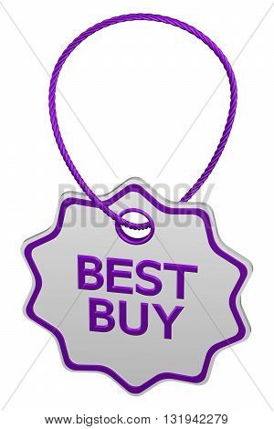 Best buy tag isolated on white background. 3D rendering.