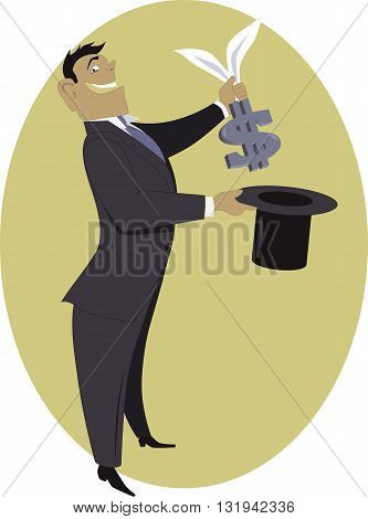Businessman pulling a dollar sign out of a top hat