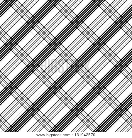 Seamless Tartan Pattern. Vector Monochrome Plaid Background