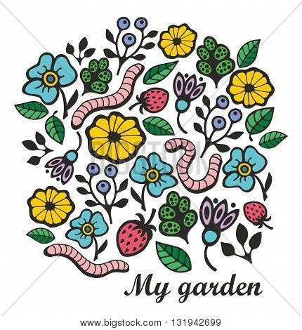 Cute floral print with worms and grass. Vector illustration.