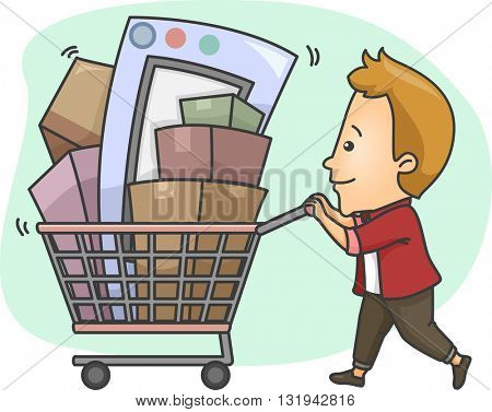 Illustration of a Man Pushing a Shopping Cart Full of Goods