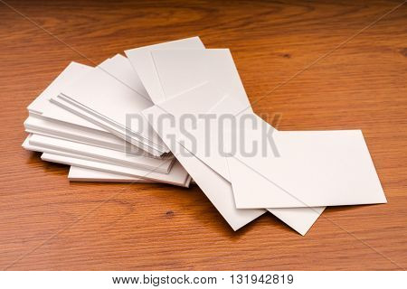 Business cards on wood table