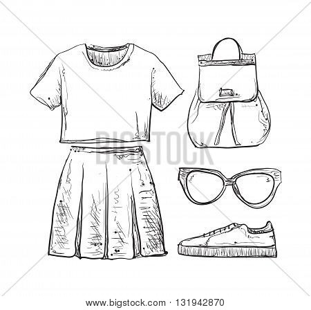 Linear clothes and accessories. Summer dress, shirt and skirt