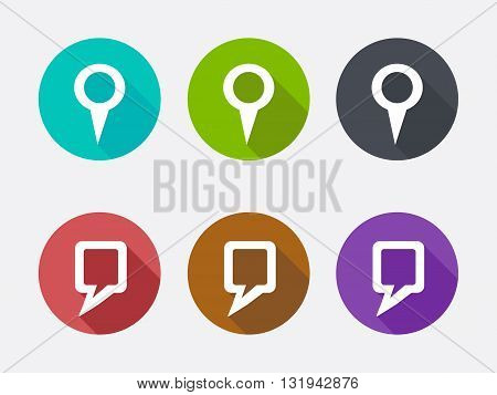 Location icon set in flat design. Vector illustration.