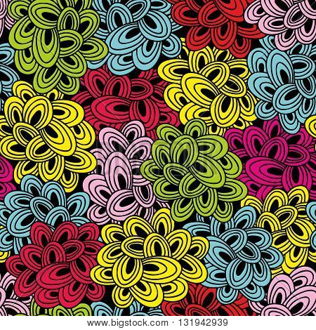 Colorful seamless pattern with bright abstract clouds. Vector doodle background.