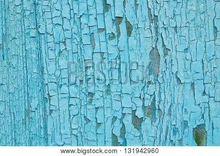 blue cracked paint on a wooden wall