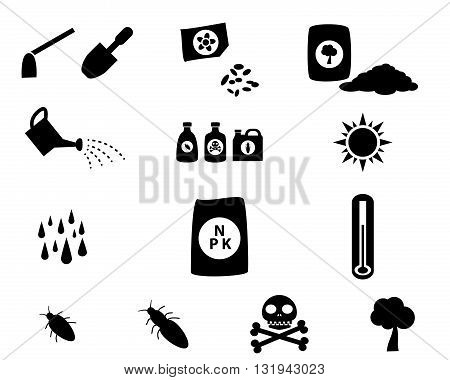 Set of cultivation icons in silhouette style vector symbol
