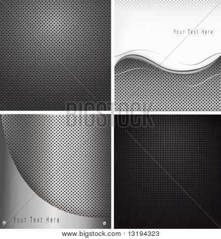 Four abstract metal backgrounds