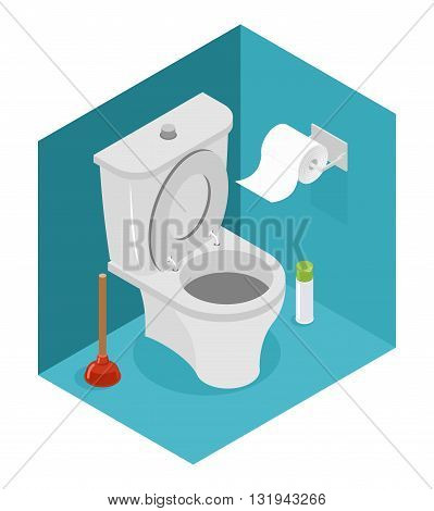 Toilet Isometrics. White Toilet And Plunger. Roll Of Toilet Paper And Air Freshener. Interior Of Res