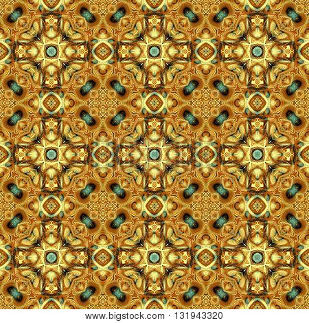 Abstract decorative brown and blue texture - kaleidoscope pattern