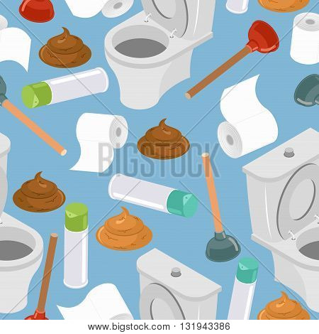 Toilet Seamless Pattern. Toilet And Plunger. Shit And Toilet Paper. Background Washroom Accessories.