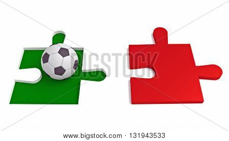 Soccer in Italy Puzzle with football 3d illustration