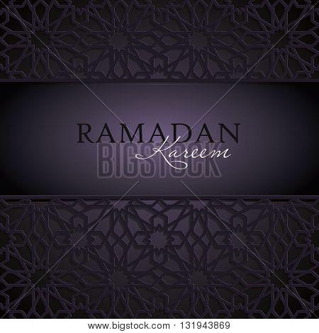 Ramadan Kareem greeting template with classic arabic ornament, vector illustration