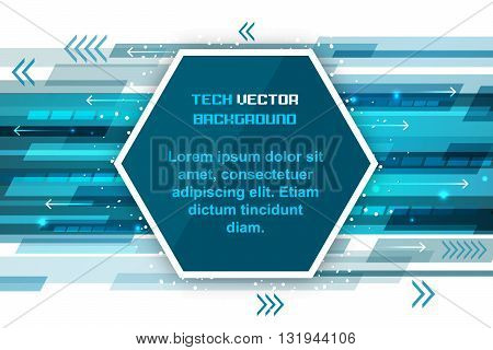 Abstract Technology Background With Hexagon And Arrows.
