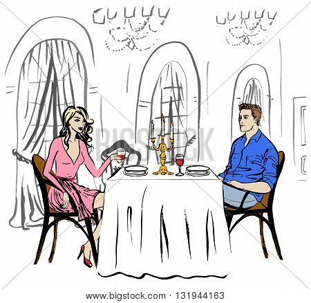 Man and woman drinking wine. Dating in restaurant