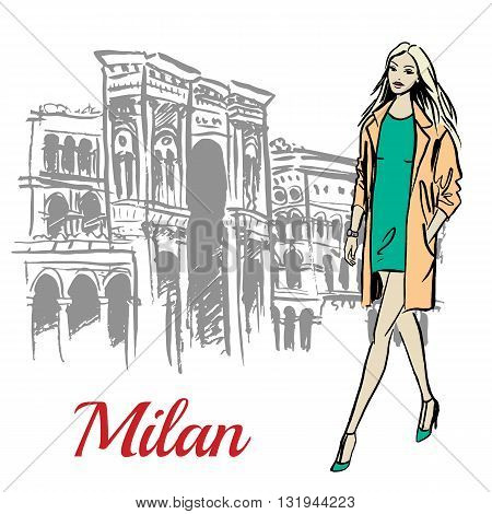 Stylish young woman walking near Milan Cathedral, Duomo di Milano, piazza del Duomo in Milan, Italy