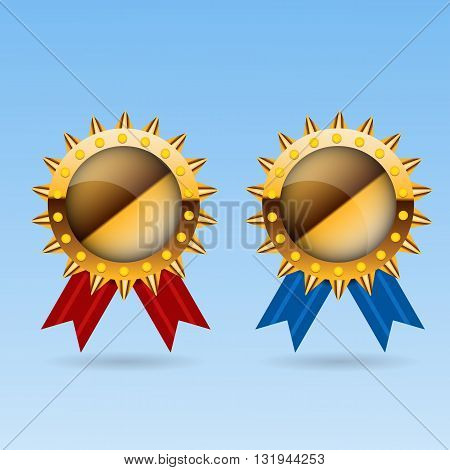 Golden Blank Medal Award With Red And Blue Ribbon Vector Illustration Eps 10
