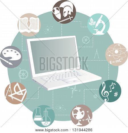 Online learning. Laptop and study subjects, EPS8 vector illustration