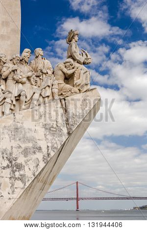 The portuguese discoveries monument, Lisbon, Portugal. The monument celebrates the Portuguese Age of Discovery in 15th and 16th centuries.