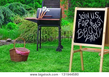 An Invitation To A Barbecue Party, Written On Blackboard
