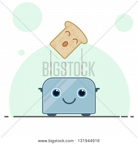 Live happy toaster with bread in flat style