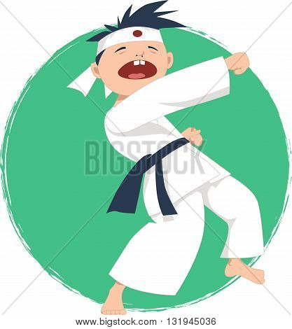 Cartoon boy doing karate, vector illustration, no transparencies