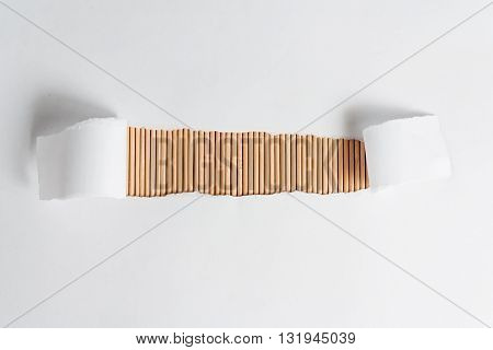 White frame with bamboo wooden texture. Copy space for your text isolated