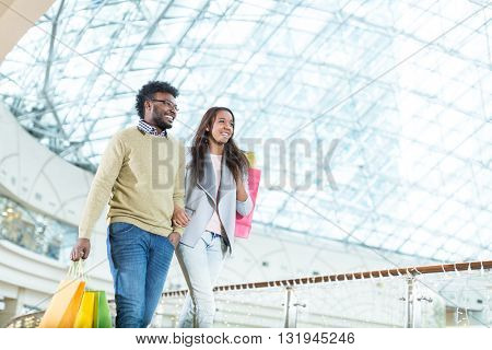 Smiling couple in store
